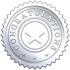 "Elegant SILVER embossed foil certificate seals ""CONGRATULATIONS"" - 50 pack"
