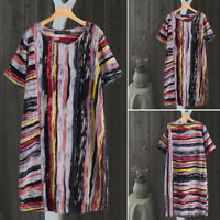 ZANZEA Women Vintage Floral Print Long Shirt Dress Stripe Loose Midi Dress Plus