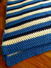 HANDMADE STRIPED CROCHET AFGHAN IN DEEP BLUE, BLUE & OFF WHITE