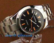 40mm Parnis Black dial Silver Steel Case Sapphire Glass Automatic Men Watch E969