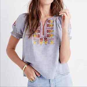 Madewell Floral Embroidered Penny Peasant Top Crop Fit Stripe Womens Size Medium