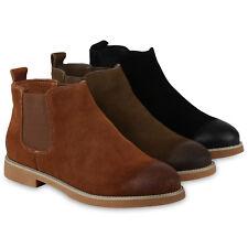 Damen Chelsea Boots Wildleder-Optik Stiefeletten Echtleder 818862 Schuhe