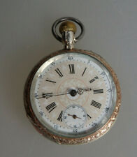 Schöne offene Jugendstil Herrentaschenuhr Silber datiert 1913 (63219)