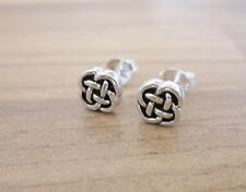 925 Sterling Silver - Plain Silver Small Celtic Style Stud Earrings - 7mm Wide