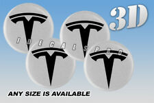 TESLA domed wheel center cap decals emblems stickers 4 pcs ~ ANY SIZE ~ b/s