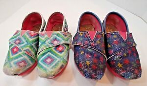 TOMS Flats Loafer Slipper 2 PAIR Lot Shoes Pink Blue Sparkles Toddler Girls 7M