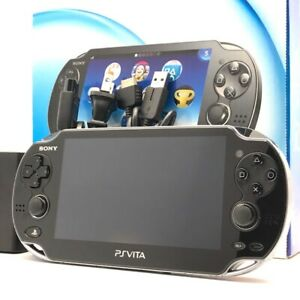 "SONY PS Vita PCH-1100 Crystal Black Wi-Fi OLED w/ Charger, Box ""Excellent+"""