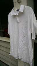 Lands' End mens casual white shirt Large 42 44 polo style