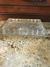 Vintage Clear Pressed Glass Butter Dish with Cover