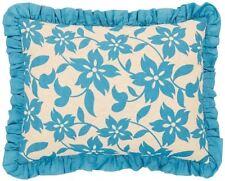 Briar Azure Blue Floral Hand-Quilted Linen & Cotton Ruffled Standard Pillow Sham