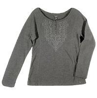 Eddie Bauer Women's Pullover Knit Jersey Top Southwest Charcoal Grey Medium