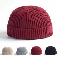 Unisex Mens Womens Knitted Hat Beanie Skullcap Fisherman Cuff Brimless Cap Mini