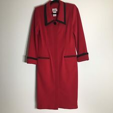Vintage Leslie Fay Petite Collections Womens Red Coat Sheath Dress Size 8 Usa