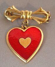 broche vintage noeud avec pampille coeur en émail rouge tout de couleur or 3302