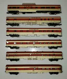Atlas Rivarossi  N Scale Passenger Cars Frisco Lot Of 6 Red / Gold Used