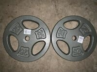 """CAP 25lb x2 Cast Iron 1"""" Barbell Weight Plates (50 LBS Total) FAST SHIPPING!New"""