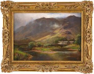Borrowdale Lake District Antique Oil Painting William Lakin Turner (1867-1936)