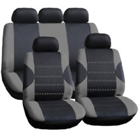 Racing Black with Grey Panels Deluxe Luxury Full Car Set Seat Cover Protectors