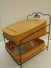 Longaberger Classic Tapered Paper Tray Basket Combo Wrought Iron Stand