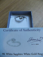 Stunning Very RARE!!  White Sapphire  &  9K white gold ring size N Gems TV