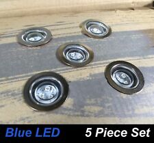 5 Piece Round LED Deck & Step Light Kit DIY Stainless Steel BLUE Complete Kit!
