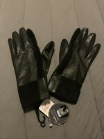 $82 NWT LORD & TAYLOR WOMENS BLACK STRETCH LEATHER GLOVES SIZE L/XL- JC307
