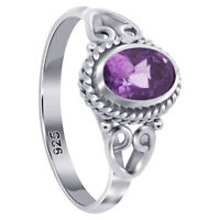 925 Sterling Silver Oval Shape Amethyst Gemstone Bali Women's Ring
