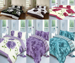 Printed Duvet Cover Set With Matching Pillow Cases All UK Sizes