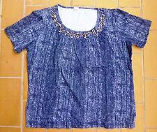 Legeres Damen-Kurzarm-Shirt jeansblau Gr. 42 mit Holzperlen