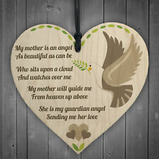 Mum Guardian Angel Wood Love Heart Sign Memorial Mothers Day Gift Grave Plaque