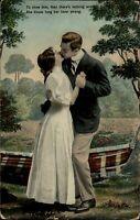 Romantic kissing ~ long kiss ~ 1900s Edwardian couple ~ c1910 vintage postcard