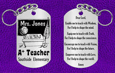 Teacher Keychain with Prayer, Personalized FREE with Name and School, Great Gift