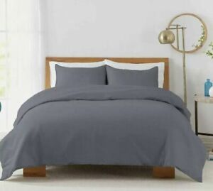 Solid 450-Thread-Count Cotton Sateen KING Duvet Cover Set in Blue