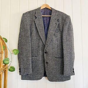 🌱 HARRIS TWEED Sz 40 / M Grey Black Beige Houndstooth Blazer Jacket Wool