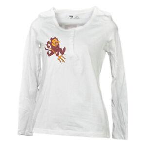 NCAA Arizona State Soleil Devils Blanc Femme Manches Longues T-Shirt Henley Fork