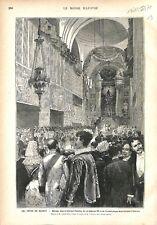 Fête de Madrid Mariage d'Alphonse XII d'Espagne Basilique d'Atocha GRAVURE 1879
