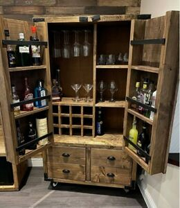 Brand new and unused industrial oak drinks cabinet Home bar man cave RRP£1187.99