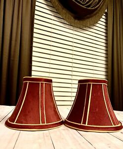 Set Of Elegant Burgundy Gold Trim Small Shades for Chandelier, lamp, or Clip on