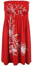 Ladies Plus Size Red Floral Strapless Sheering Boob Tube Summer Beach Tops 8-20