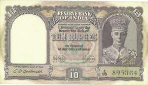 India 10 Rupees Currency Banknote 1943