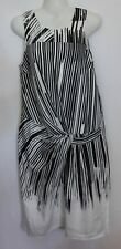 COUNTRY ROAD ~ Black White Striped Polyester Sleeveless Shift Dress 6