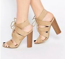 BNWT New Look Beige Strappy Lace Up Summer Sandals Block Heel Boho Asos size 5