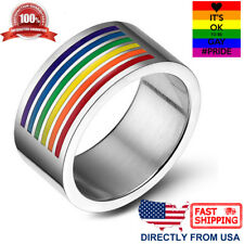 Gay Pride Ring Lesbian LGBT Pride Rainbow Color Unisex 10mm Wedding Band