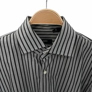 Hugo Boss Men's Gray Stripe Regular Fit Spread Collar Long Sleeve Shirt 16.5