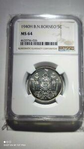 British North Borneo BNB 5 cents 1940H PMG64