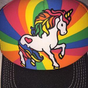 Unicorn Rainbow Heart Love Colorful Trucker Hat Cap Foam Mesh Snapback New