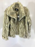 BOOHOO BOUTIQUE WOMENS JASMINE VINTAGE FAUX FUR COAT CREAM/BROWN UK:8/US:4 NWT
