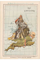 England; Antique Allegorical Map; Modern St. George & The Dragon 1888