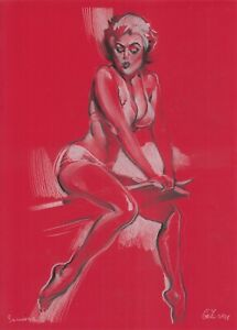 original drawing 19,5 х 30,5 cm 285GZ art Pastel Modern female half naked
