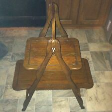 Vtg 2 Tier Wood Decorator Table Mid Century Modern Folds To Store